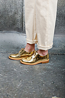 Gold metallic brogues  image