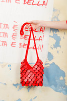 Red Hand Crocheted wooden sequins bag image