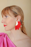 Feather clip red earrings image