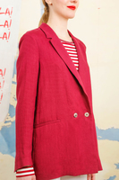 Burgundy linen double breasted blazer  image