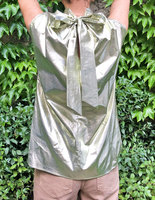 Metallic Sleeveless Top with Back Neckline Bow image