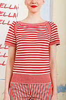 Red and white striped knit t-shirt  image